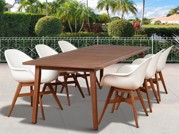 International Home Miami Amazonia Charlotte Deluxe 7 Piece Rectangular Dining Set PatioLiving