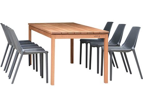 International Home Miami Amazonia Madrid 7 Piece Rectangular Wood Dining Set