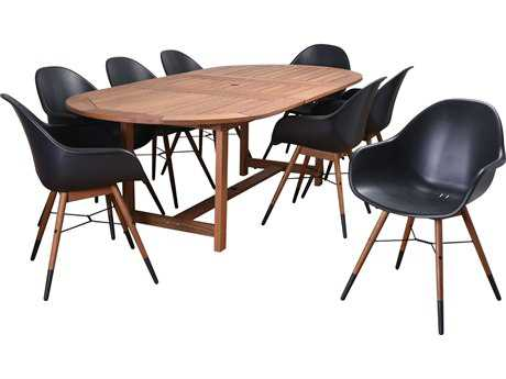 International Home Miami Amazonia Charlotte Eucayptus 9 Piece Extendable Rectangular Dining Set Black
