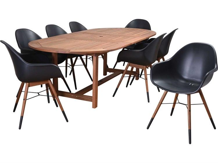 International Home Miami Amazonia Charlotte Eucayptus 9 Piece Extendable Rectangular Dining Set Black