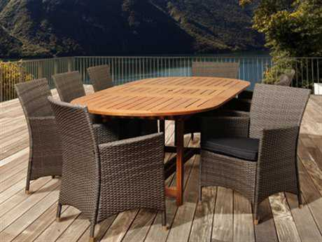 International Home Miami  Amazonia Eucalyptus & Wicker Extendable Rectangular Nine Piece Nicholas Dining Set PatioLiving