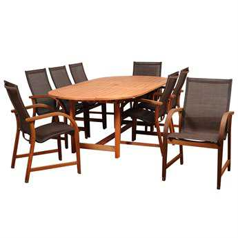 International Home Miami Amazonia Bahamas 9 Piece Eucalyptus Extendable Rectangular Dining Set with Brown Sling Chair