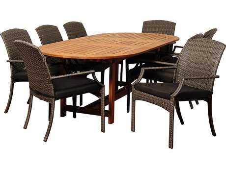 International Home Miami  Amazonia Eucalyptus & Wicker Extendable Oval Nine Piece Warner Dining Set with Grey Cushions