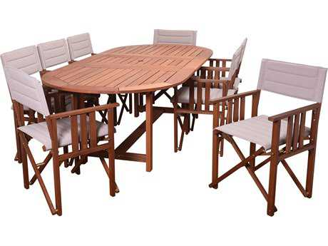 International Home Miami Amazonia Panama 9 Piece Extendable Oval Dining Set Khaki