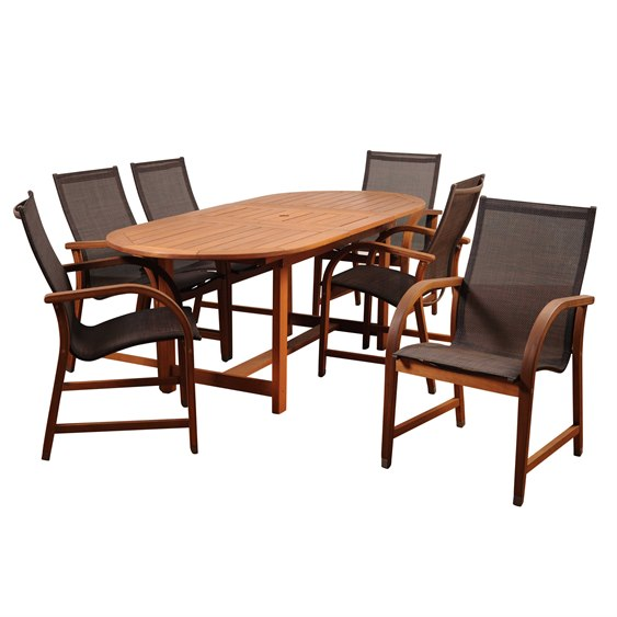 International Home Miami Amazonia Bahamas 7 Piece Eucalyptus Extendable Rectangular Dining Set with Brown Sling Chair PatioLiving