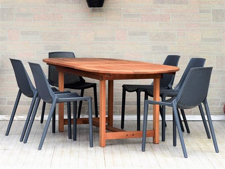 International Home Miami Amazonia Madrid 7 Piece Extendable Oval Wood Dining Set