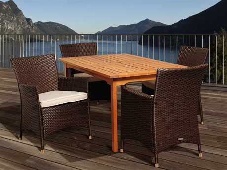 International Home Miami  Amazonia Eucalyptus & Wicker Rectangular Five Piece Myron Dining Set with Off-White Cushions PatioLiving