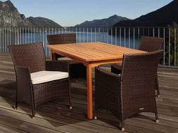 Amazonia Eucalyptus & Wicker Rectangular Five Piece Myron Dining Set with Off-White Cushions