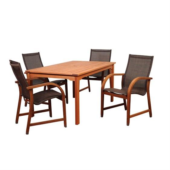 International Home Miami Amazonia Bahamas 5 Piece Eucalyptus Rectangular Dining Set with Brown Sling Chair PatioLiving