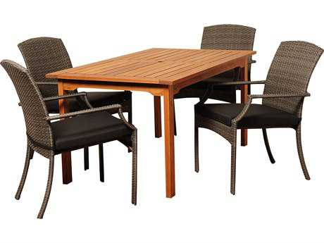 International Home Miami  Amazonia Eucalyptus & Wicker Rectangular Five Piece Warner Dining Set with Grey Cushions