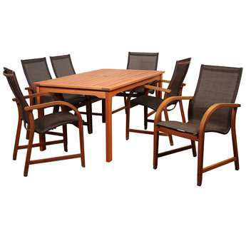 International Home Miami Amazonia Bahamas 7 Piece Eucalyptus Rectangular Dining Set with Brown Sling Chair