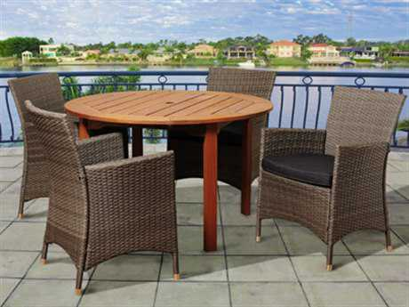 International Home Miami  Amazonia Eucalyptus & Wicker Round Five Piece Neville Dining Set with Grey Cushions