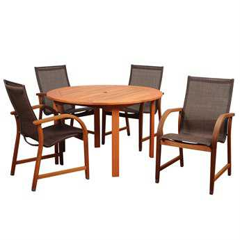 International Home Miami Amazonia Bahamas 5 Piece Ecualyptus Round Dining Set with Brown Sling Chair