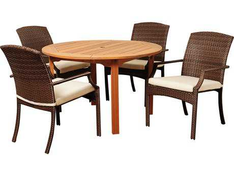 International Home Miami  Amazonia Eucalyptus & Wicker Round Five Piece Warner Dining Set with Off-White Cushions PatioLiving