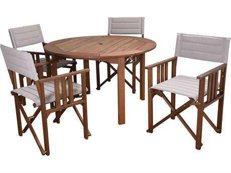 International Home Miami Amazonia Panama 5 Piece Round Dining Set Khaki