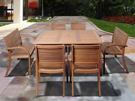 International Home Miami  Amazonia Eucalyptus Square Seven Piece Arizona Dining Set