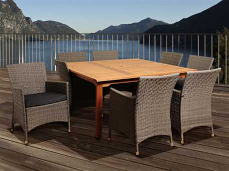 International Home Miami  Amazonia Eucalyptus & Wicker Square Nine Piece Normand Dining Set with Grey Cushions