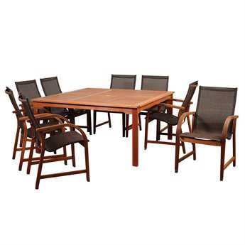International Home Miami Amazonia Bahamas 9 Piece Eucalyptus Square Dining Set with Brown Sling Chair