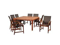 Amazonia Bahamas 9 Piece Eucalyptus Square Dining Set with Brown Sling Chair