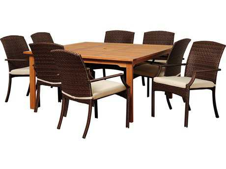 International Home Miami  Amazonia Eucalyptus & Wicker Square Nine Piece Warner Dining Set with Off-White Cushions