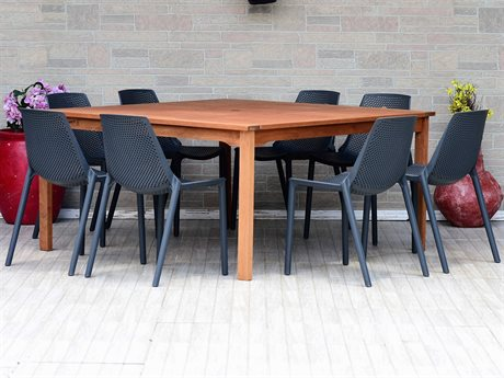 International Home Miami Amazonia Madrid 9 Piece Square Wood Dining Set