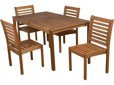 International Home Miami  Amazonia Eucalyptus Rectangular Five piece Dining Set PatioLiving