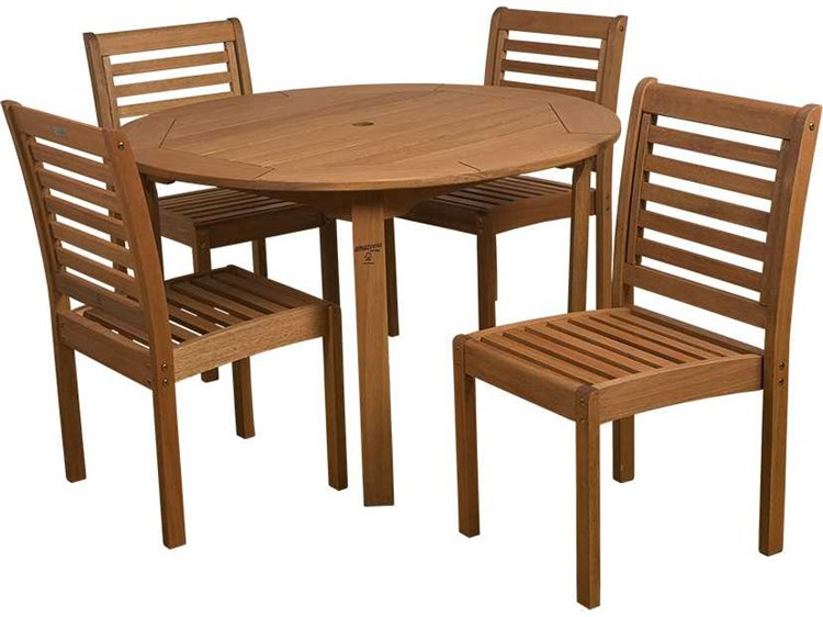 International Home Miami  Amazonia Eucalyptus Round Five piece Dining Set PatioLiving
