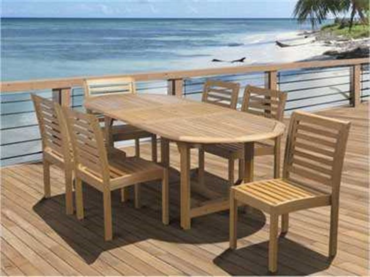 International Home Miami Amazonia Eucalyptus Oval 7 Piece Extendable Dining Set