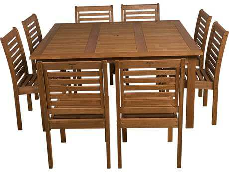 International Home Miami  Amazonia Eucalyptus Square Nine piece  Dining Set