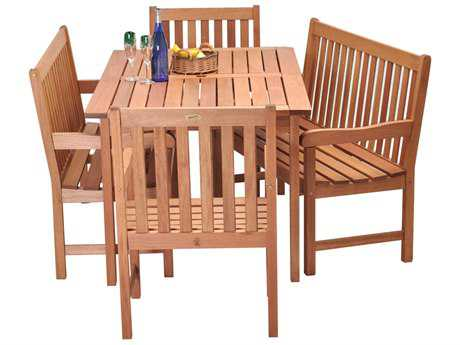 International Home Miami  Amazonia Eucalyptus Five Piece Milano Bench Dining Set