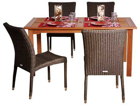 International Home Miami  Amazonia Eucalyptus & Wicker Rectangular Five Piece Brugge Dining Set
