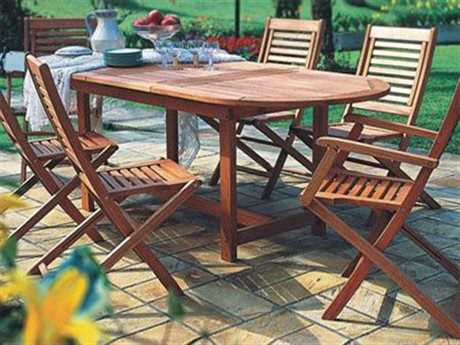 International Home Miami  Amazonia Eucalyptus Oval Seven Piece Extendable Milano Dining Set IMBTEXTSET