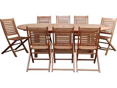 International Home Miami  Amazonia Eucalyptus Grand Oval Extendable Milano Dining Set