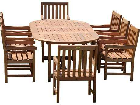 International Home Miami  Amazonia Eucalyptus Grand Oval Extendable Deluxe Milano Dining Set