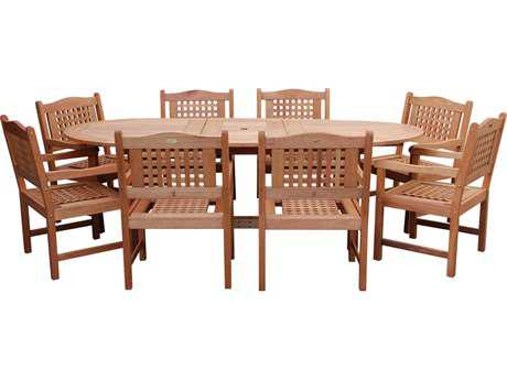 International Home Miami  Amazonia Eucalyptus Grand Oval Extendable Porto Milano Dining Set