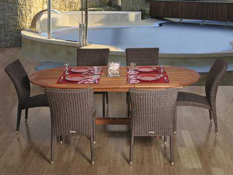 International Home Miami  Amazonia Eucalyptus & Wicker Oval Seven Piece Extendable Lemans Dining Set