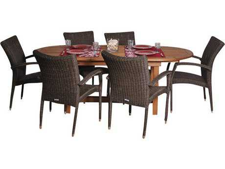 International Home Miami  Amazonia Eucalyptus & Wicker Oval Seven Piece Extendable Lemans Deluxe Dining Set