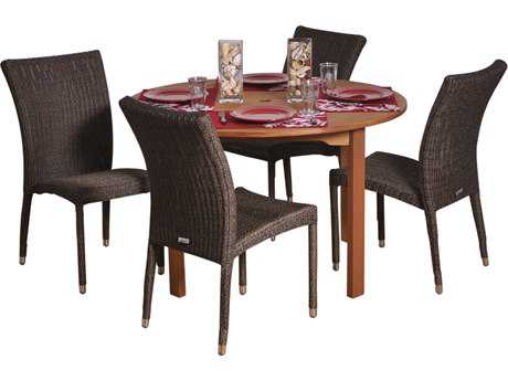 International Home Miami  Amazonia Eucalyptus & Wicker Round Five Piece Lorraine Dining Set