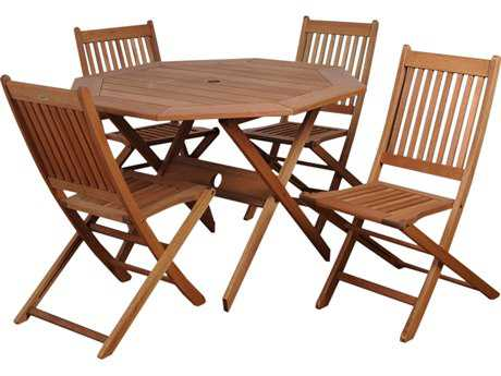 International Home Miami  Amazonia Eucalyptus Octagonal Five Piece Milano Dining Set