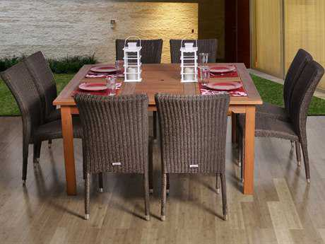 International Home Miami  Amazonia Eucalyptus & Wicker Square Nine Piece Provence Dining Set