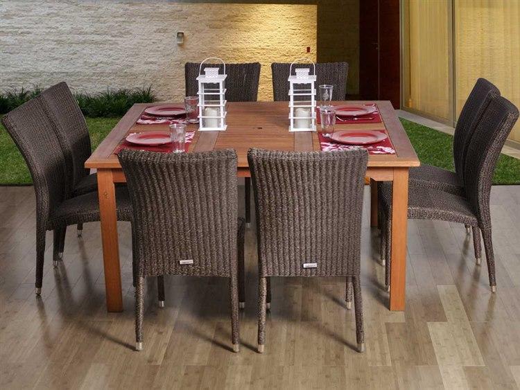 International Home Miami  Amazonia Eucalyptus & Wicker Square Nine Piece Provence Dining Set PatioLiving