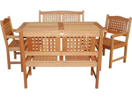 International Home Miami  Amazonia Eucalyptus Rectangular Porto Five Piece Milano Dining Set