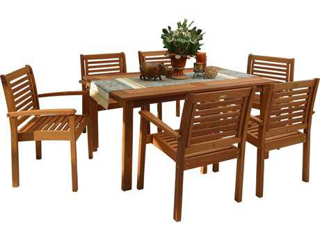 International Home Miami  Amazonia Eucalyptus Rectangular Seven Piece Milano Dining Set PatioLiving