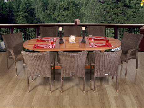 International Home Miami  Amazonia Eucalyptus & Wicker Nine Piece Extendable Oval Renaissance Dining Set