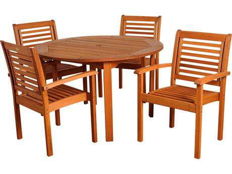 International Home Miami  Amazonia Eucalyptus Round Five Piece Milano Dining Set