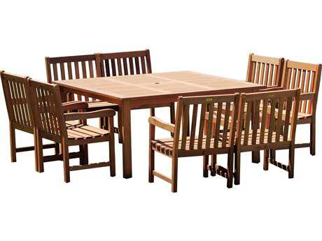 International Home Miami  Amazonia Eucalyptus Square Nine Piece Milano Deluxe Dining Set