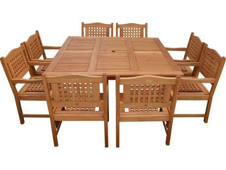 International Home Miami  Amazonia Eucalyptus Square Porto Nine Piece Milano Dining Set