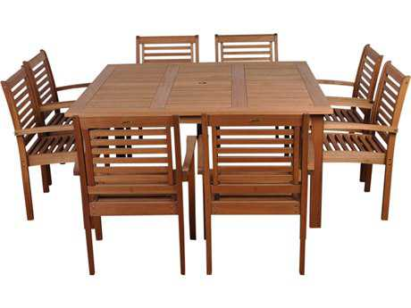 International Home Miami  Amazonia Eucalyptus Square Nine Piece Milano Dining Set
