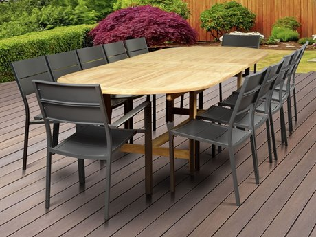 International Home Miami Amazonia Koningsdam 13 Piece Teak Double Extendable Rectangular Dining Set