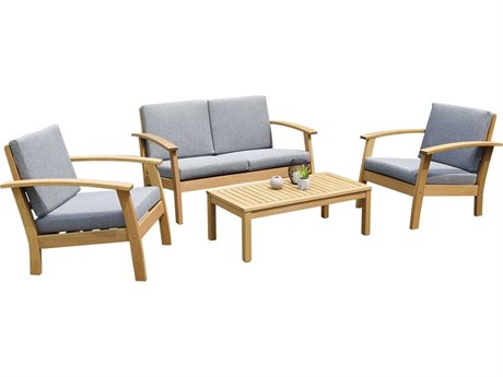 International Home Miami Amazonia Burano 4 Piece Wood Cushion Lounge Set